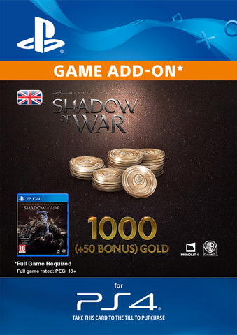 Shadow of War: 1050 Gold for PS4 DLC