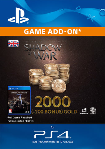 Shadow of War: 2,200 Gold for PS4 DLC