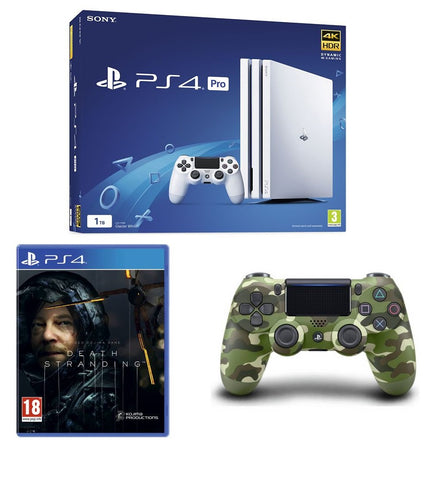Sony PlayStation 4 Pro 1TB White (PS4) + Death Stranding & Dualshock 4 Camo