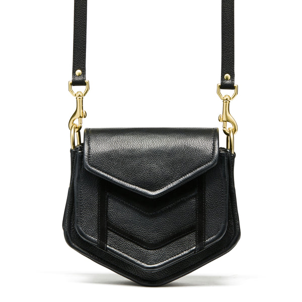 Ellka Black Chevron Crossbody Bag