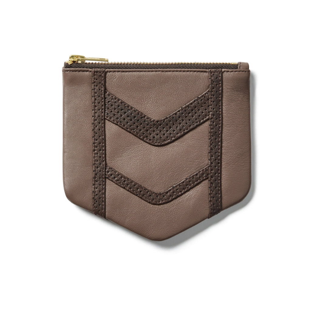 Chevron Raw Umber Small Pouch
