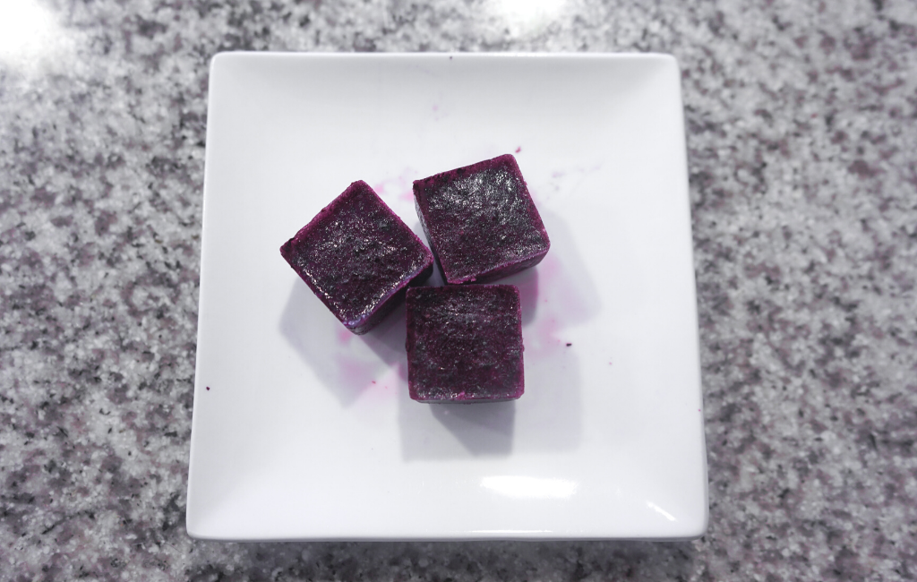 frozen blended blueberries on small plate ready for serving