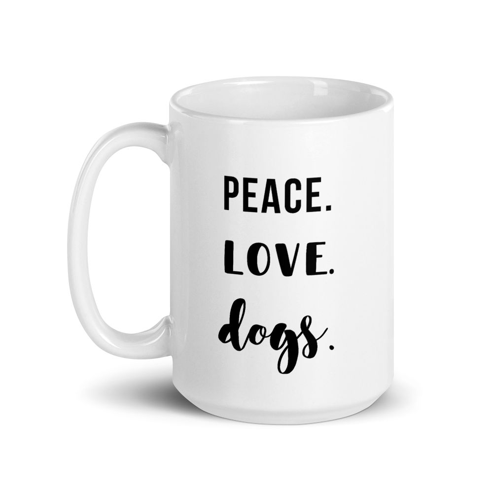 Peace. Love. Dogs Mug - Cursive