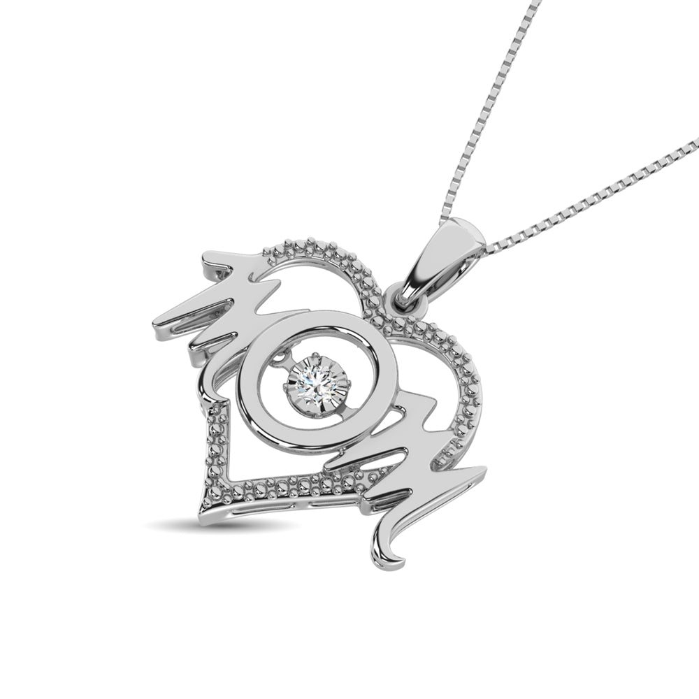 Sterling Silver Mom Moving Diamond accents Pendant