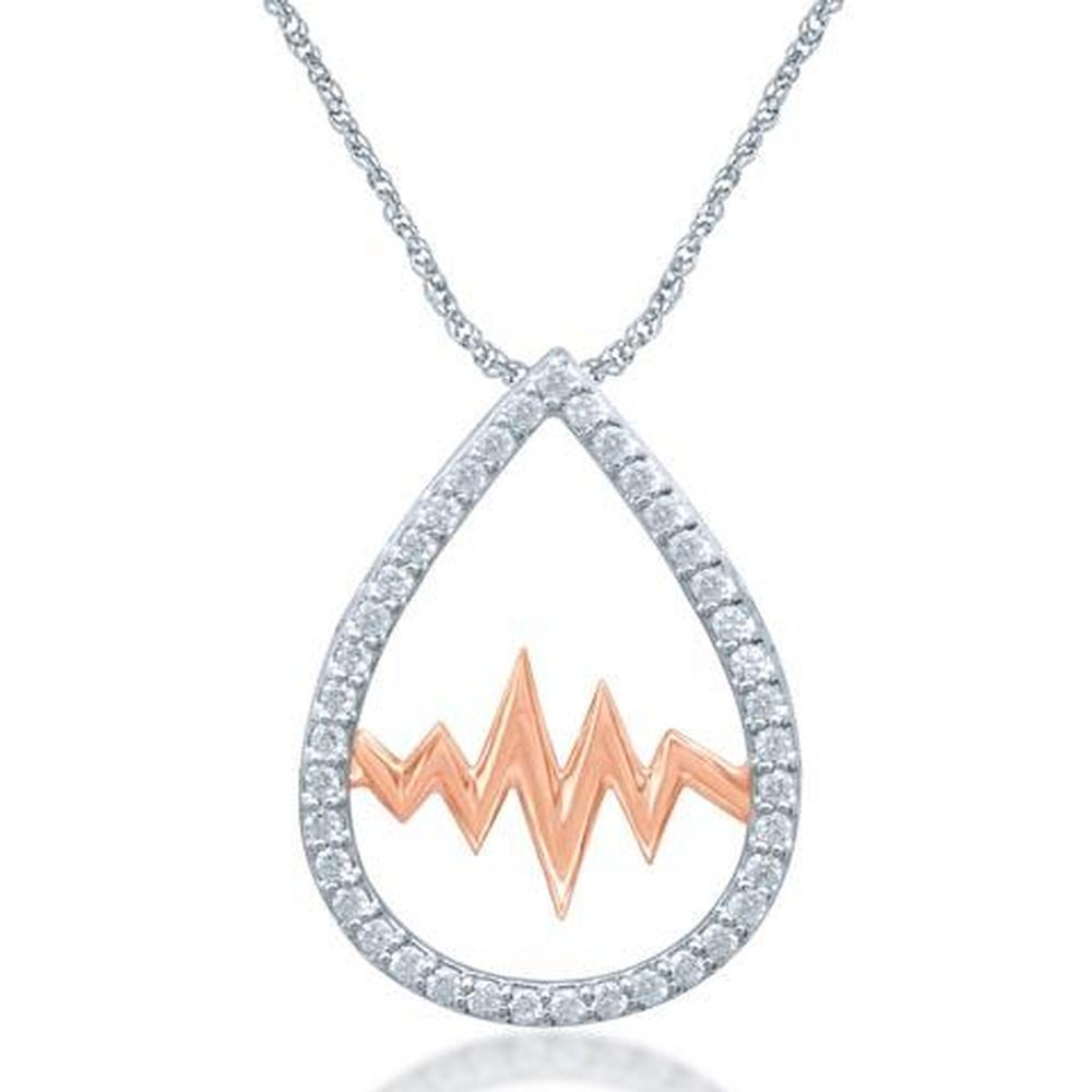 Sterling Silver 1/5 CT.TW. Moving Diamond Fashion Pendant