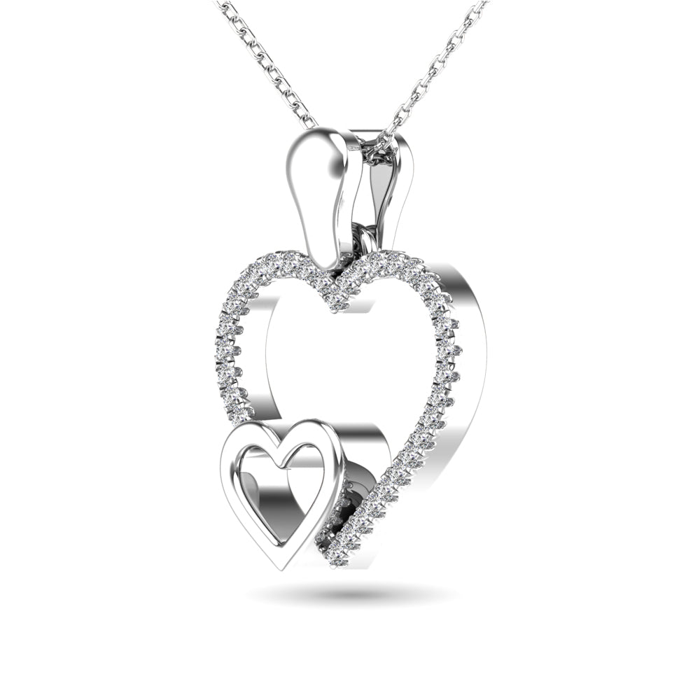 10K White Gold 1/20 CTW Diamond Double Heart Pendant