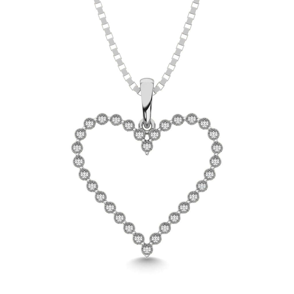 Sterling Silver 1/10 CT.TW. Diamond Heart Pendant