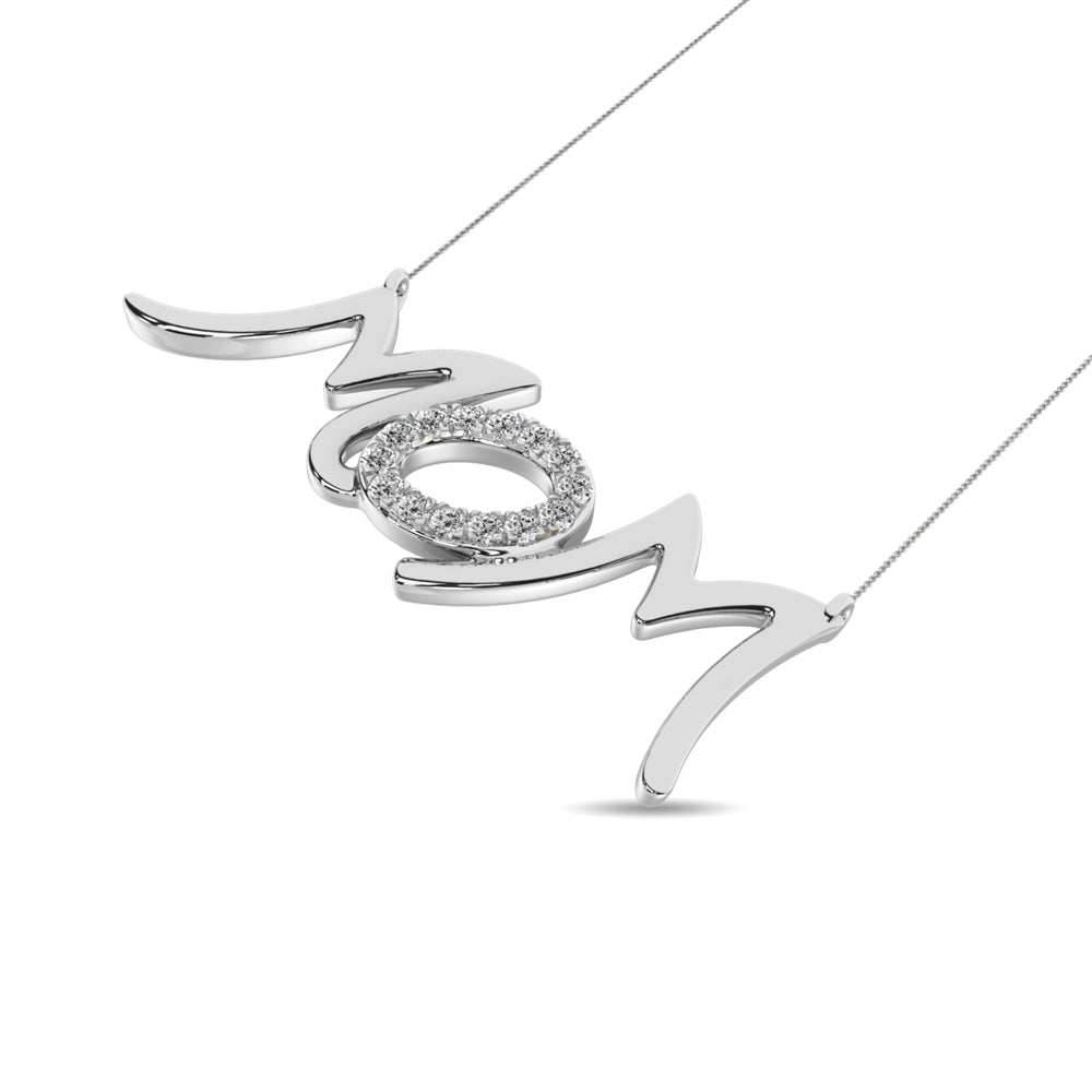 Mom Diamond and Silver Necklace Gift
