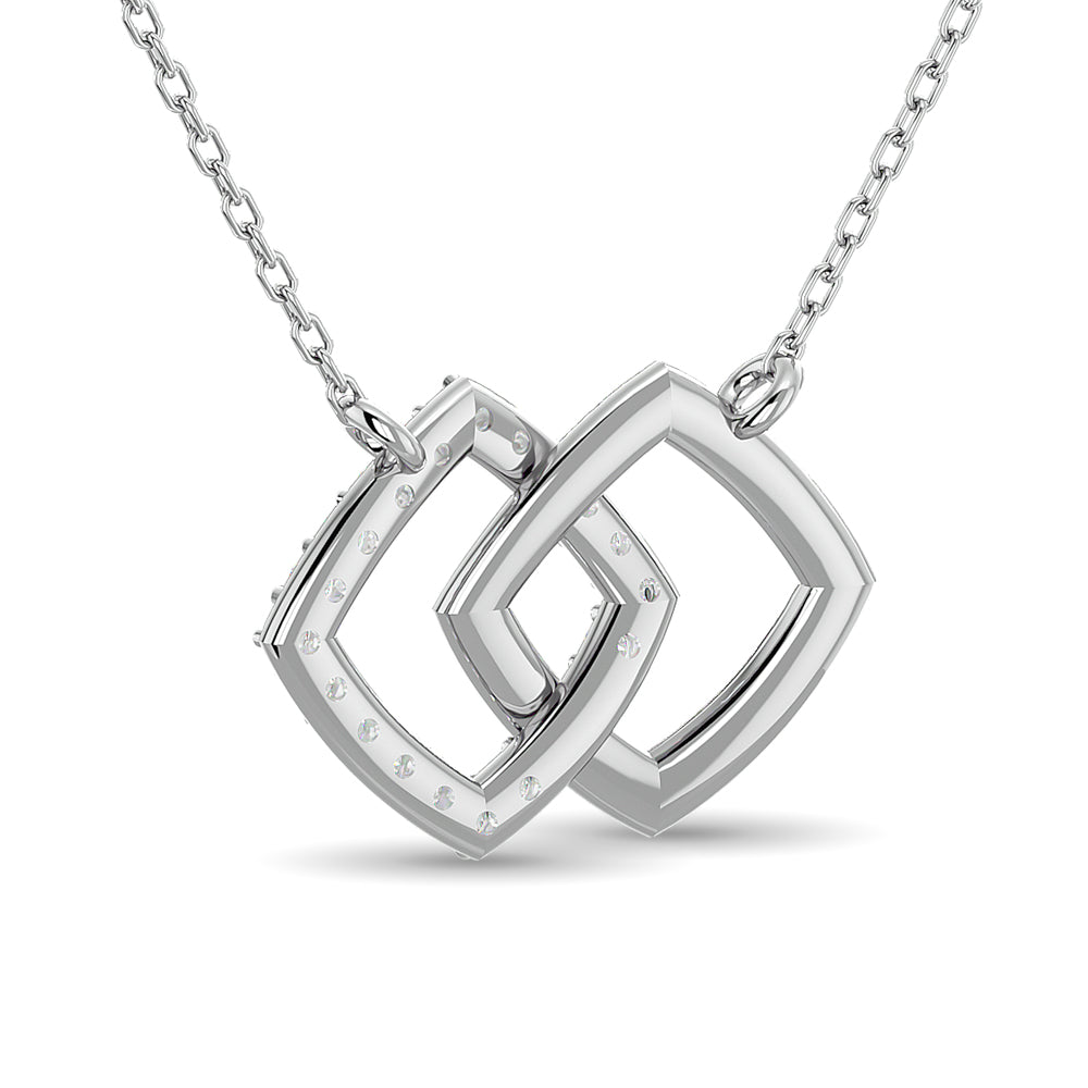 Diamond 1/6 CT TW Symatrical Square Necklace in 10k White Gold