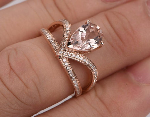 Balacia:2 Carat Pear Morganite 14K Rose Gold Engagement Ring