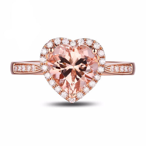 Balacia:14K Rose Gold 1.87 Carat Morganite Engagement Ring