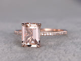Balacia:14k Rose Gold Pink Morganite Engagement Ring