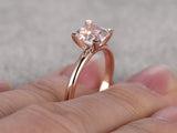 Balacia:14k Rose Gold Princess Cut Morganite Engagement Rin