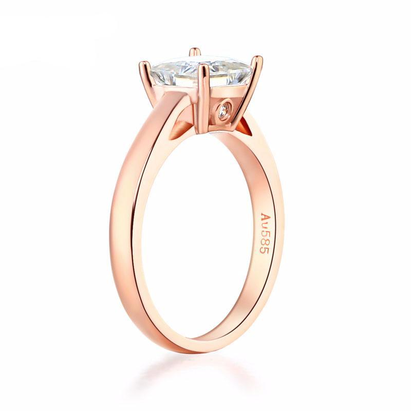 Balacia:14K Rose Gold 1 Carat Moissanite Engagement Ring