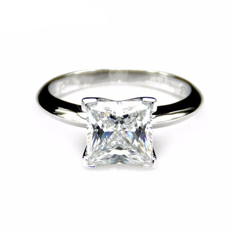 Balacia:3 Carat Princess Cut Moissanite Engagement Ring