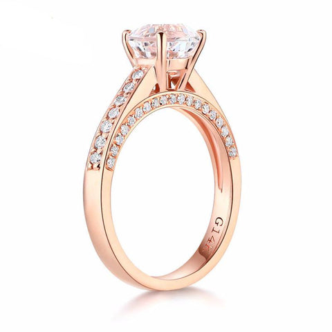 Balacia:14K Rose Gold 1.2 Carat Topaz Engagement Ring