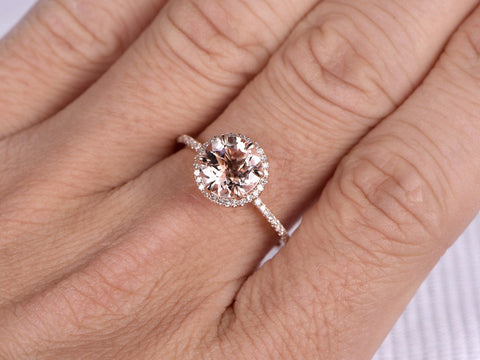 Balacia:14k Morganite Round Engagement Ring