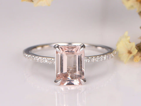 Balacia:Emerald Cut White Gold Morganite Engagement Ring