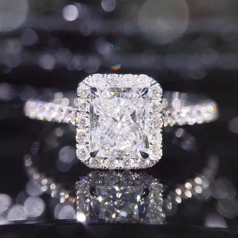 Balacia:1 Carat Halo Moissanite Engagement Ring
