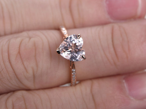 Balacia:1.45 Carat Heart Morganite Engagement Ring