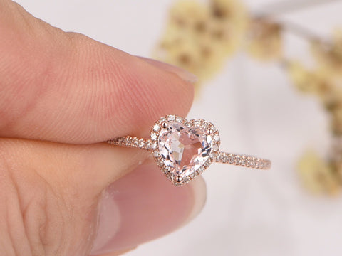 Balacia:14K Rose Gold Morganite Engagement Ring
