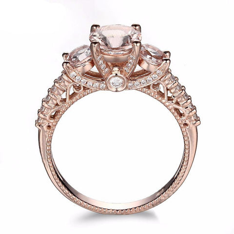 Balacia:10k Rose Gold Morganite Engagement Ring