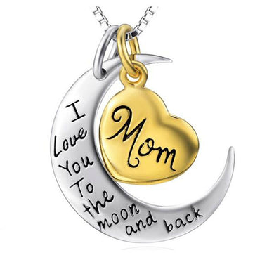 I Love You To the Moon and Back Silver Necklace Mom Dad Daughter Son Grandma Grandpa Family Choker Pendant Necklace men Men