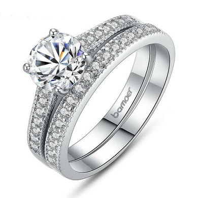 Brand Luxury White Gold Color Two Ring Sets for Women with AAA CZ Wedding Rings Jewelry Fast Shipping. Christmas Sale Was $69.95 Now $34.95!