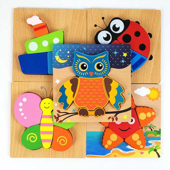 3D Wooden Jigsaw Puzzle For Children. Cartoon Animal Puzzle Intelligence Child Educational Development Toys!