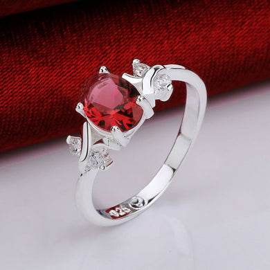 Beautiful Ring For Christmas! Women Female Jewelry Silver Genuine Austrian Red Crystal Gem Finger. Christmas Sale Was $29.95 Now Only $17.95!