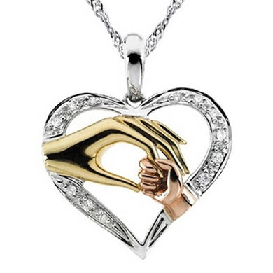 New Fashion Mother And Child Pendant Gift For Mom Golden Hand in hand Heart Love Pendant Necklace Mom Family Jewelry