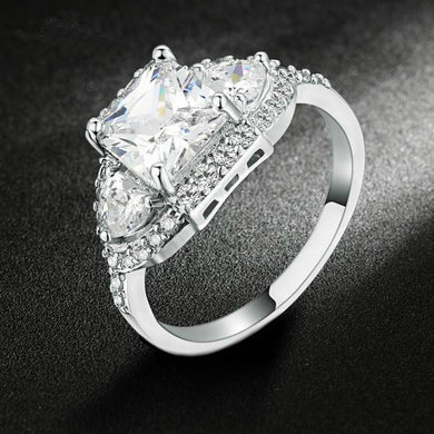 Silver Color Luxury Wedding Ring Set Engagement AAA Cubic Zirconium Jewelry For Women with Austrian Crystal. Christmas Sale Was $39.95 Now Only $19.95!
