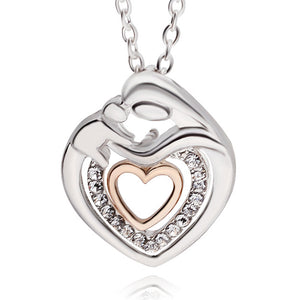 Mom And Baby Necklace Gift Mother Mum Son Daughter Child Crystal Rhinestone Heart Shaped Pendant Necklace