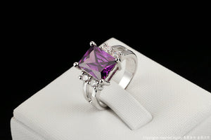 Christmas Sale! This Beautiful Popular Silver Color Princess Cut Big Purple Crystal Ring Fashion Cubic Zirconia ring on time for Christmas. Christmas Sale Was $39.95 Now $19.95!