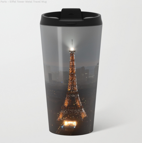 Image of Metal Travel Mugs - The Eiffel Tower In Paris - 15 Oz - Metal Travel Mugs