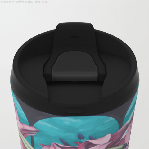 Image of Metal Travel Mugs - Graffiti Flowers - 15 Oz - Metal Travel Mugs