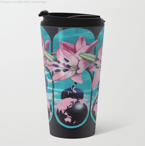Metal Travel Mugs - Graffiti Flowers - 15 Oz