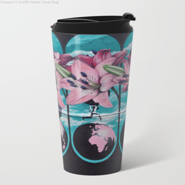 Metal Travel Mugs - Graffiti Flowers - 15 Oz - Metal Travel Mugs