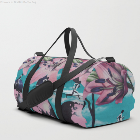 Duffle Bag - Flowers In Graffiti - Duflfe Bag