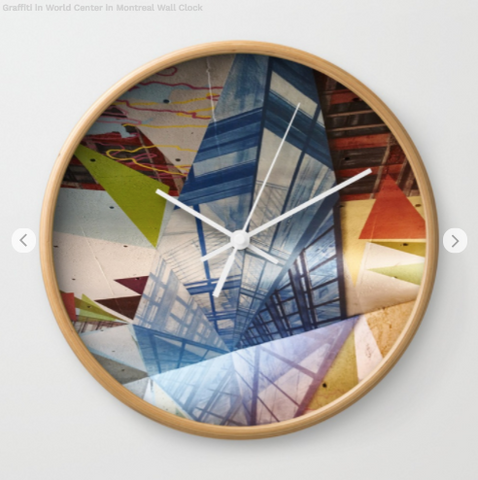 Image of Wall Clock - Graffiti In World Trade Center Of Montreal - Wall Clock