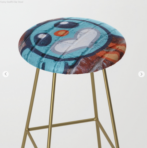Image of Bar Stools - Funny face - Graffiti