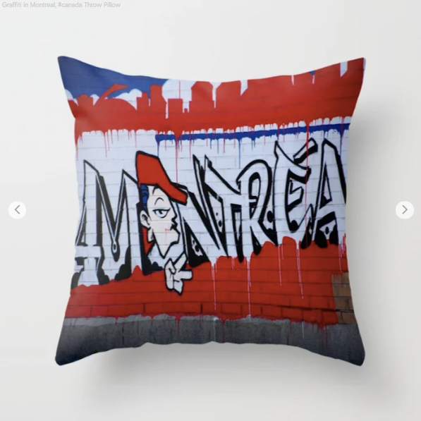Graffiti in Montreal about Montreal - Decorative throw pillows