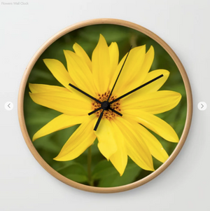 Wall clock - Yellow flowers
