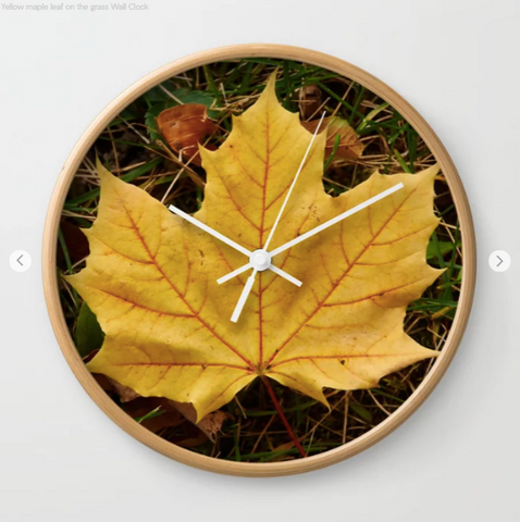 Wall clock - Yellow maple leaf on the grass