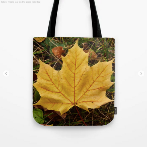 Image of Tote Bag - Yellow Maple Leaf On The Grass Of Montreal - Tote Bag