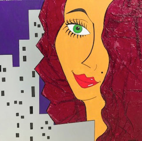 "Painting: ""Girl in the city"" by Vanessa Mancini"