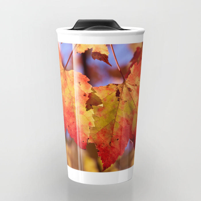 Travel Mugs - Autumn In Canada With Maple Leafs - Travel Mug