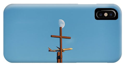 Image of Cross Moon And Airplane - Phone Case - Iphone Xs Case - Phone Case