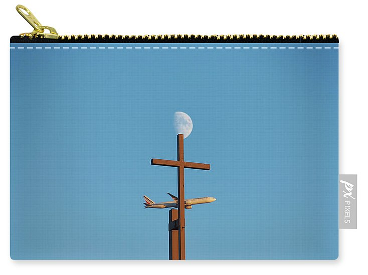 Cross, Moon And Airplane - Carry-All Pouch