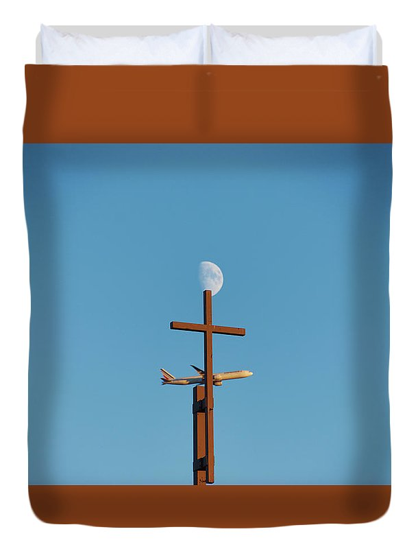 Cross Moon And Airplane - Duvet Cover - Full - Duvet Cover